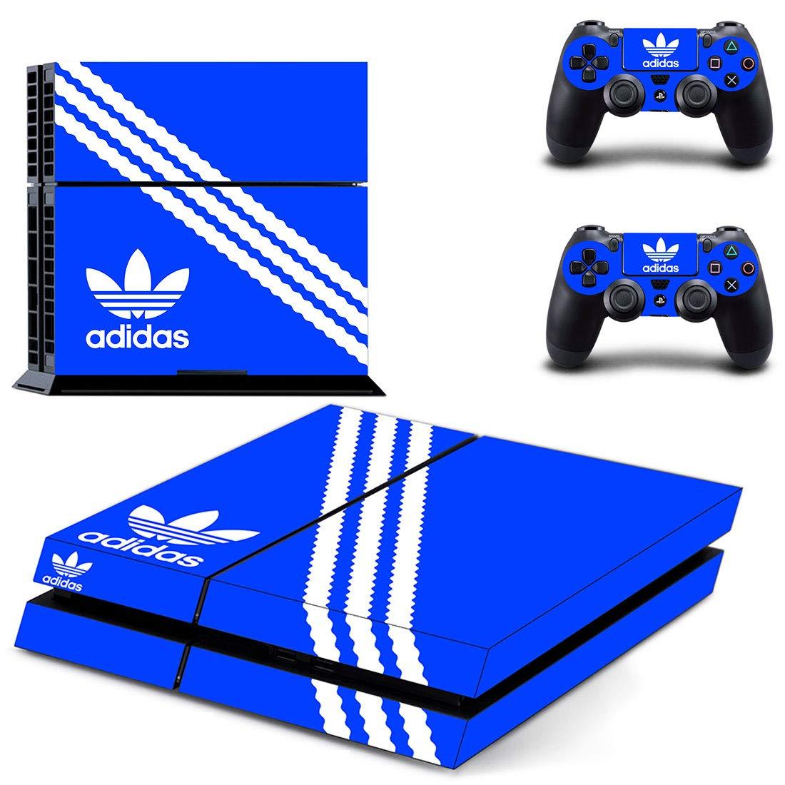 Adventure Games - PS4 ORIGINAL - Adidas, Blue - Playstation 4 Vinyl Console Skin Decal Sticker + 2 Controller Skins Set