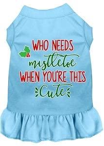 Mirage Pet Product Who Needs Mistletoe Screen Print Dog Dress Baby Blue Lg