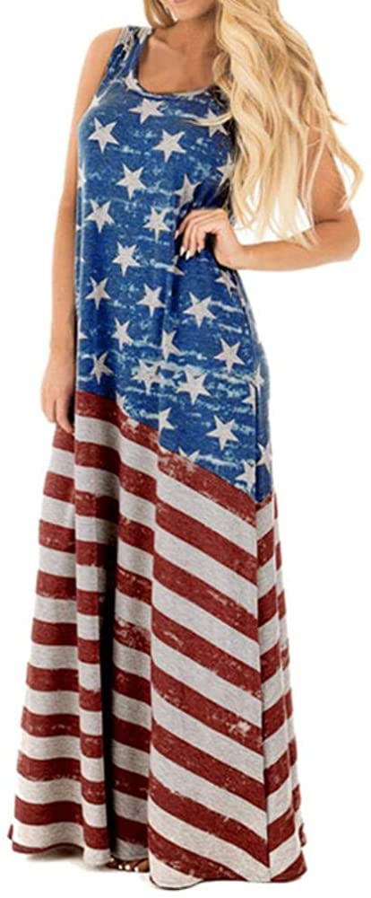 American Flag Independence Day Costume Sexy Women Flag Print Round Neck Sleeveless Long Maxi Casual Beach Dress Women Dress