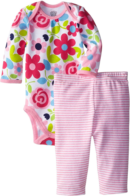 Jockey Newborn Baby Girl Floral 2-Piece Bodysuit and Legging Set