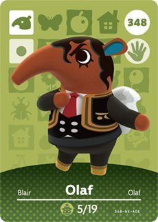 Olaf- Nintendo Animal Crossing Happy Home Designer Series 4 Amiibo Card -348
