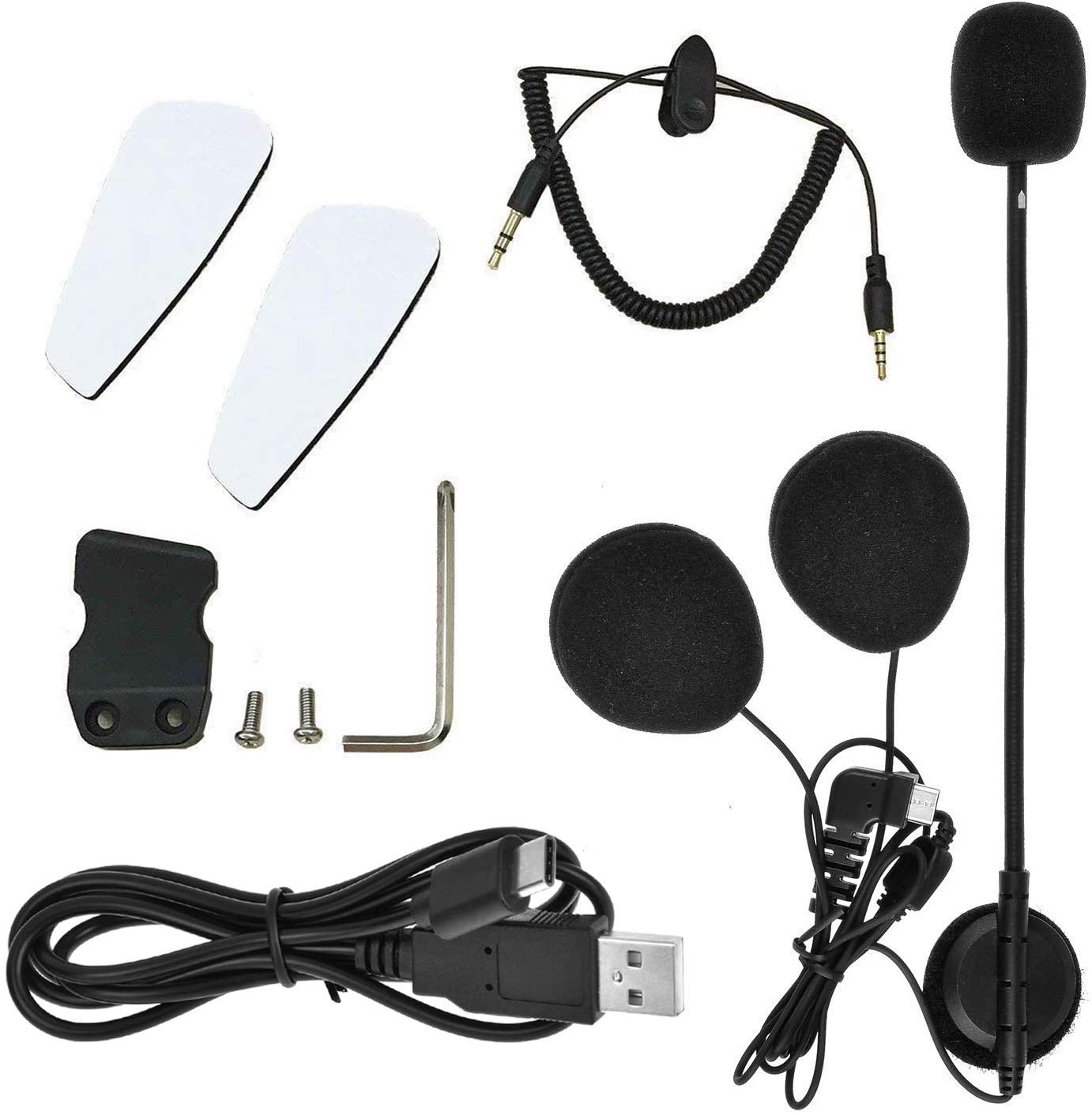 HuanGou BT-S2 Motorcycle Bluetooth Headset Intercom Type-C Interface Boom Microphone Earphone Audio Cable Charger Cable Mounting Clip Velcro Kits Accessories