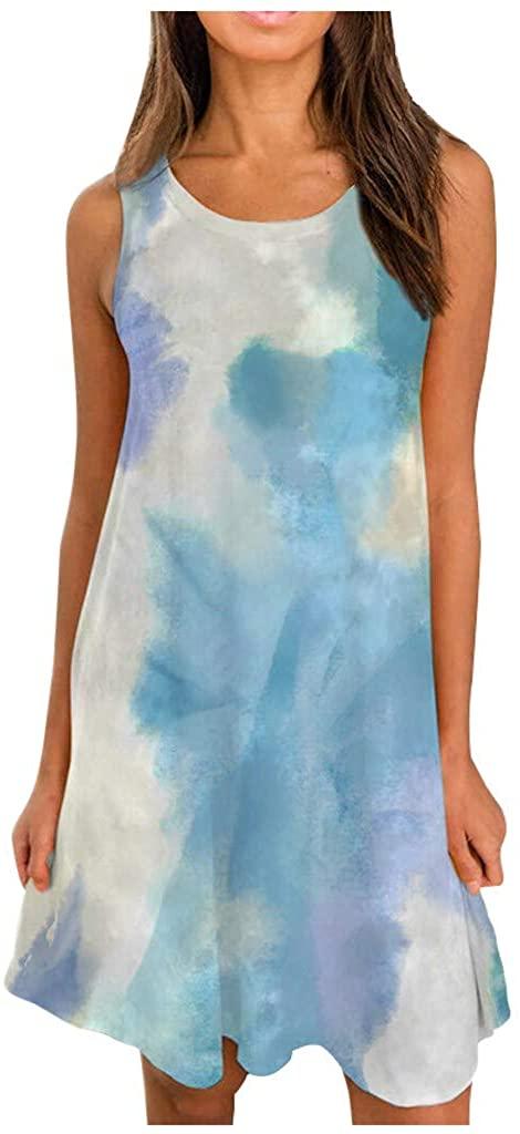 Women's Tie-Dye Dresses Summer Sleeveless O-Neck Irregular Hem Loose Swing Tank Mini Dress