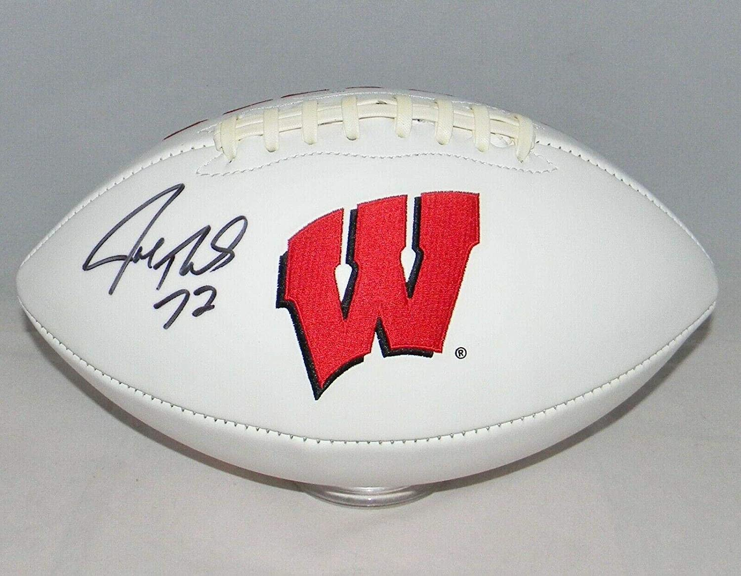 Joe Thomas Autographed Signed Wisconsin Badgers White Logo Football - JSA Certified - Autographed College Footballs