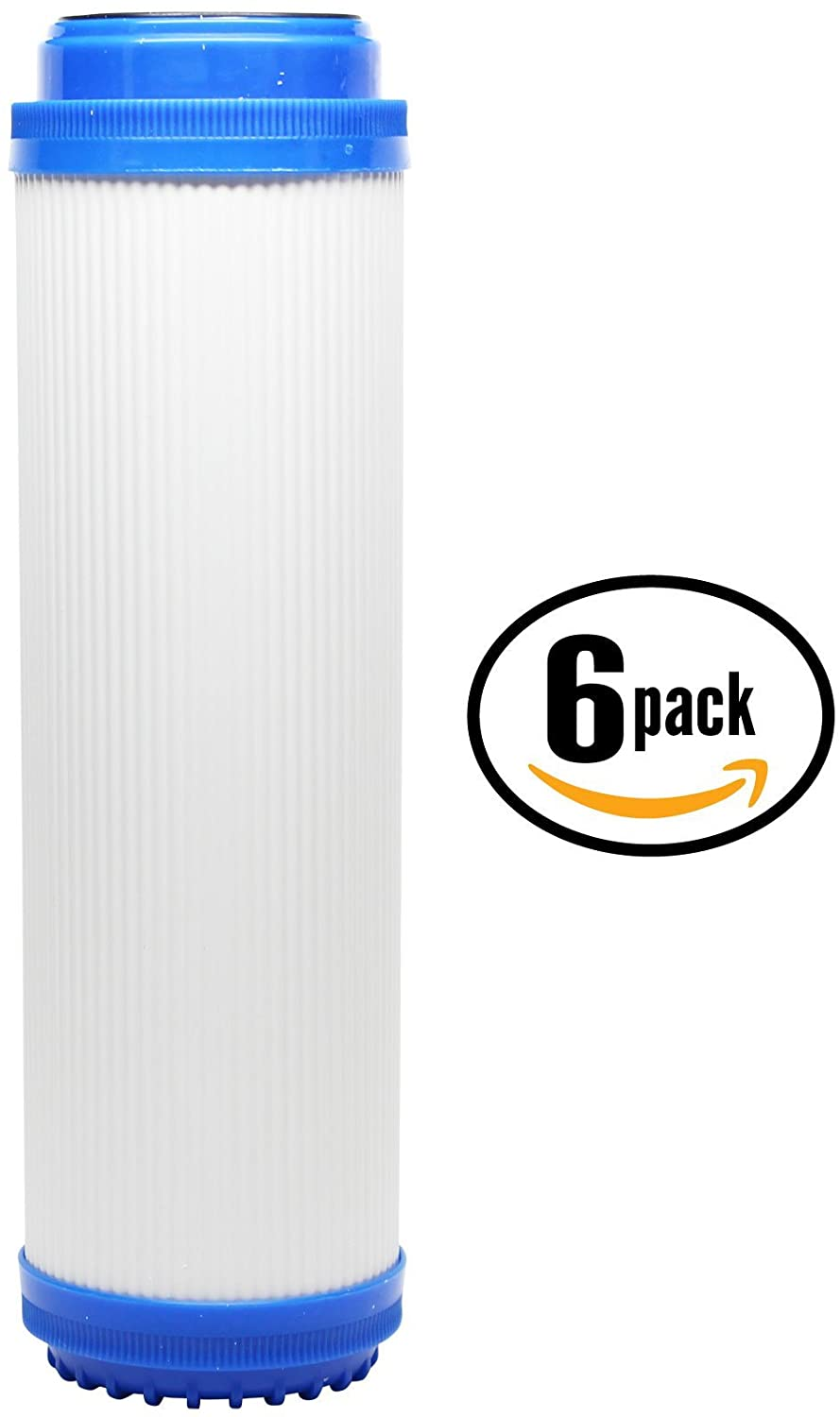 6-Pack Replacement for Isopure CT-DBL2 Granular Activated Carbon Filter - Universal 10-inch Cartridge Compatible with Isopure Water (CT-DBL2) Double Stage Counter-Top Water Filter - Denali Pure Brand