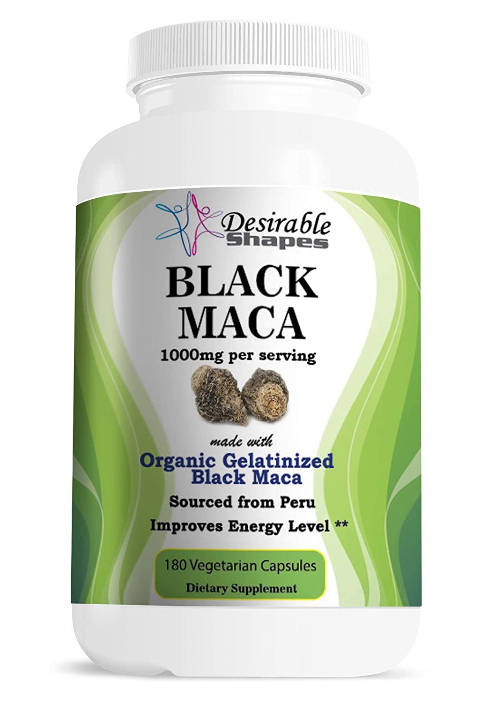 Gelatinized black maca root dietary supplement veggie capsules 1000 milligram per serving 180 counts per bottle made with Organic Peru Black Maca ingredients natural NON-GMO vegan formula made in USA