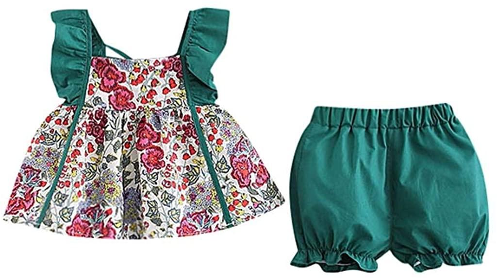 terbklf 2Pcs/Set Children Girls Sleeveless Suspender Floral Printed Tops Mini Skirt+Shorts Solid Pant Set Outfit