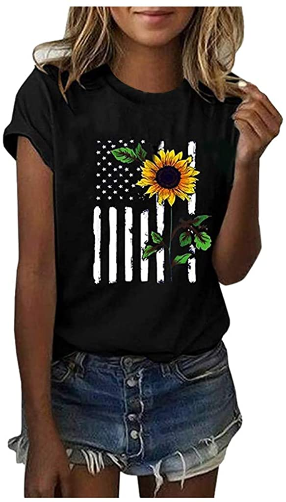 iQKA Womens Cute Sunflower Graphic T Shirts Shorts Sleeve Round Neck Casual Cotton Tops American Independence Day Tee