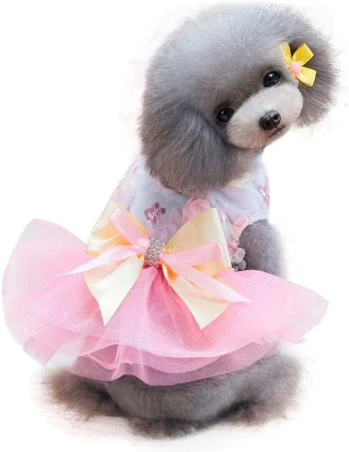 Dog Dress, Wakeu Pet Puppy Clothes Princess Tutu Skirt Vest Apparel for Small Dog Girl