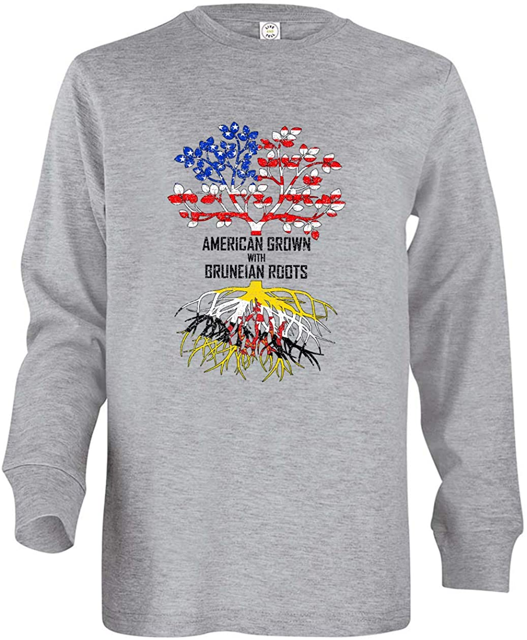 Tenacitee Boys Youth American Grown with Bruneian Roots Long Sleeve