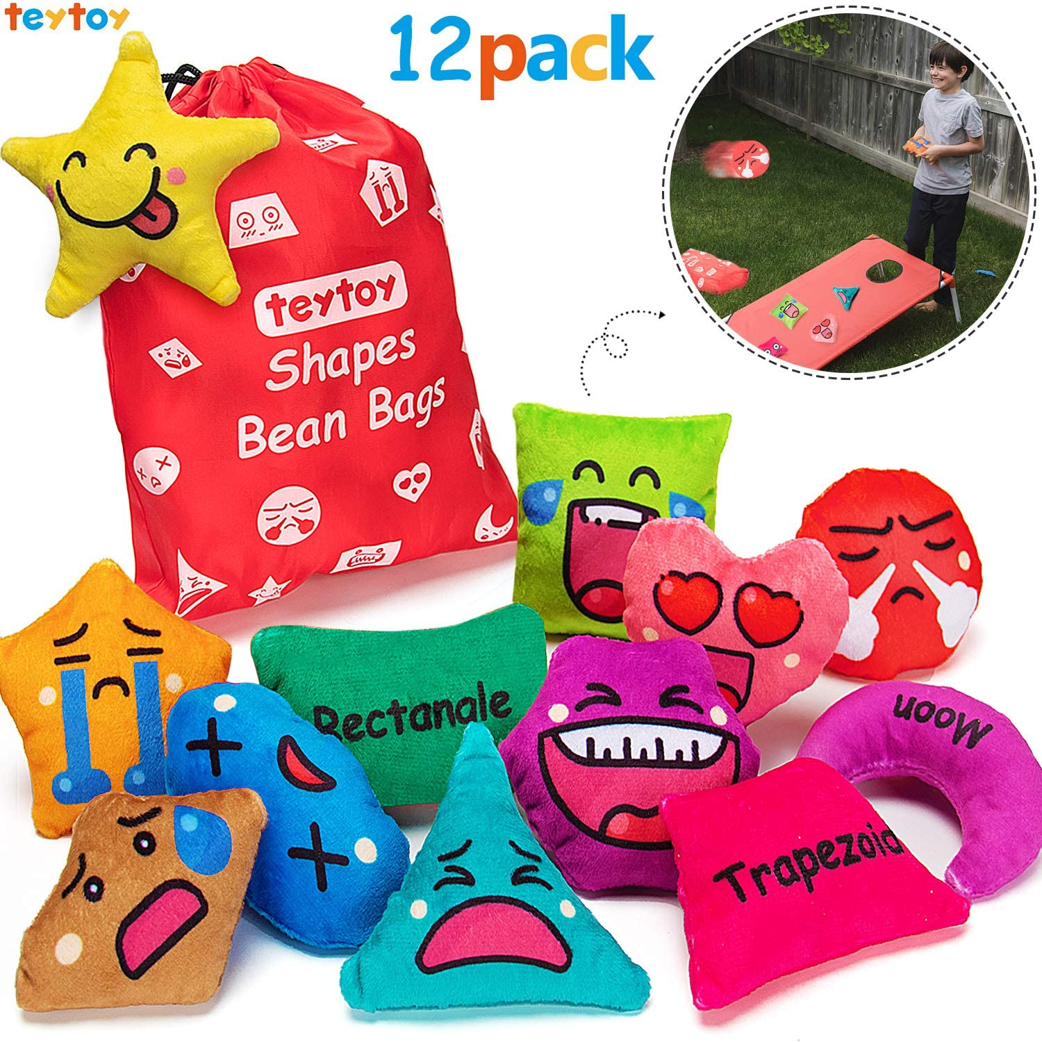 teytoy Shapes Beanbags Toy Learn Shapes and Expressions Squeaky and Rattle Preschool Educational and Learning Activities Geometric Sensory Toys for Kids Toddlers Toss Game (12 Pack)