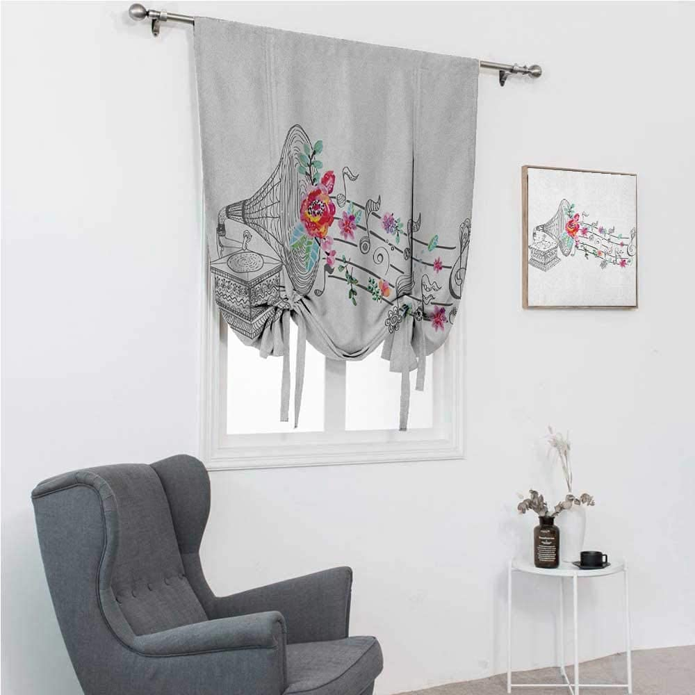 GugeABC Blackout Curtains Music Kids Bedroom Windowsill Vintage Style Gramophone Record Player with Floral Ornament Blossom Antique 42 Wide by 72 Long Grey Black White