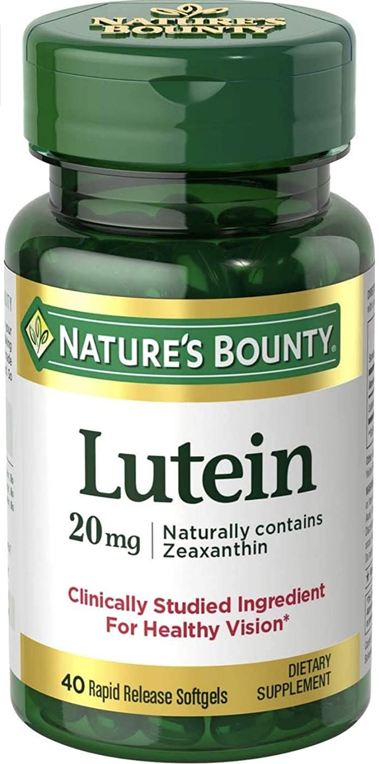 Natures Bounty Lutein 20mg Value Size, 60 Softgels (Packaging May Vary)