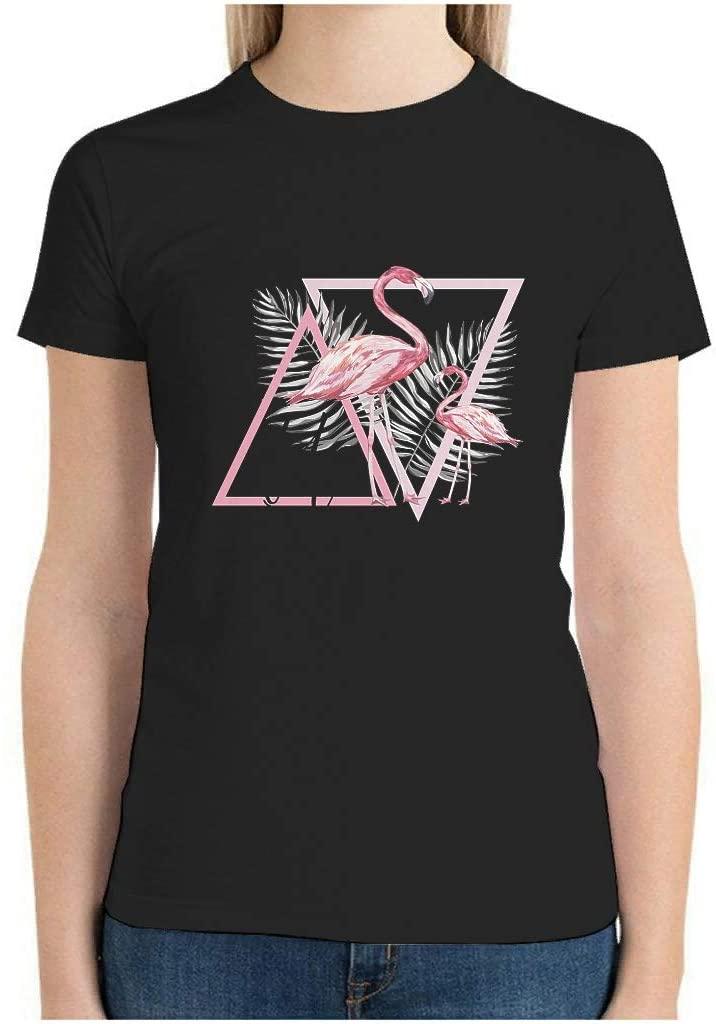 Women Cotton T Shirts Aloha Flamingo Printed Short Sleeve Crew Neck Custom Shirts