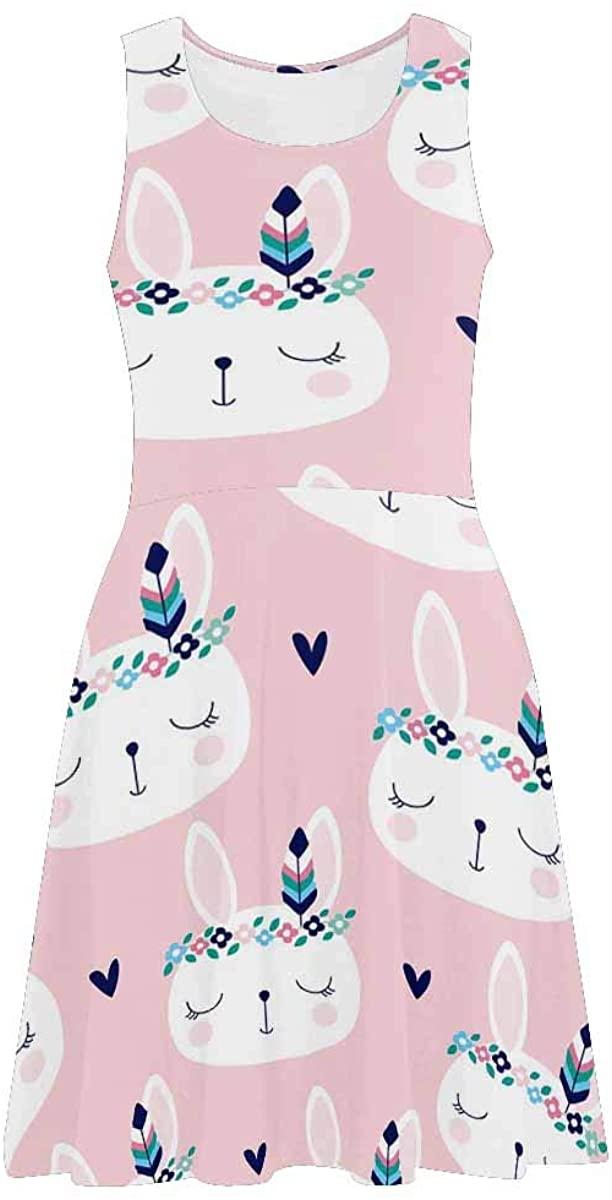 INTERESTPRINT Women's Sleeveless Sundresses Cute White Bunny Rabbit in Hippie Style Sleeveless Beach Swing Tank Dresses XS