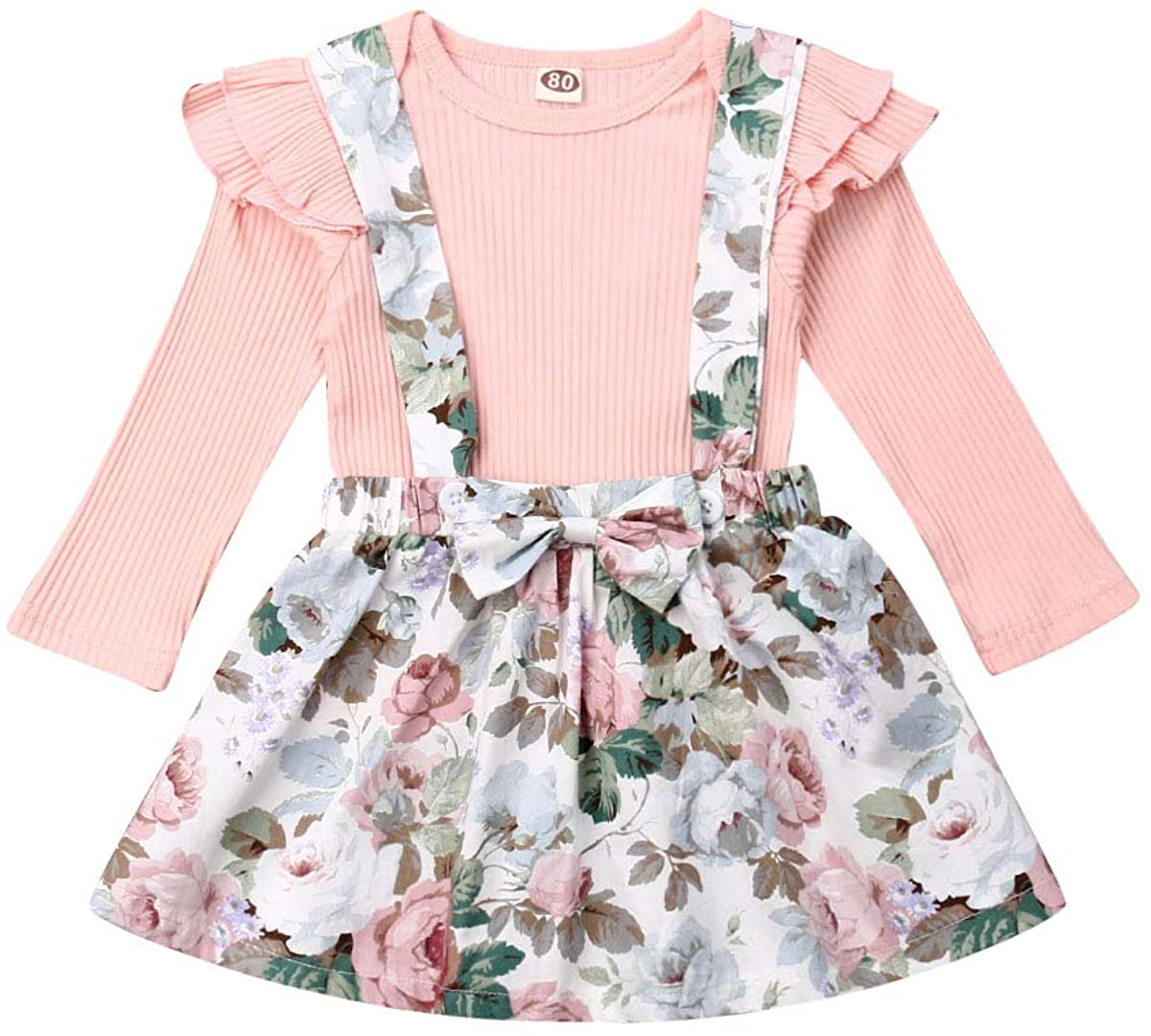 3-24Months Baby Girls Outfit Suspender Skirt, Christmas Infant Floral Overall Dress & Plain Red Ruffle Top Long Sleeve 2PCS