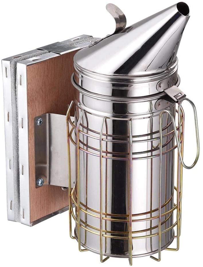 Bee Hive Smoker Stainless Steel with Heat Shield, Beekeeping Beehive Equipment, Hand Power