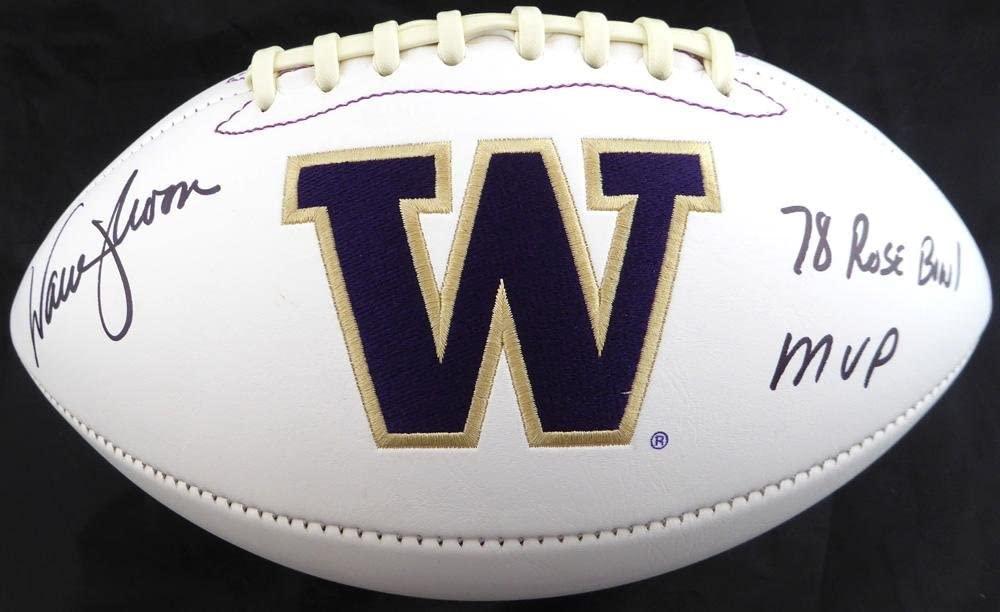 Warren Moon Autographed Washington Huskies White Logo Football78 Rose Bowl MVP MCS Holo Stock #128015