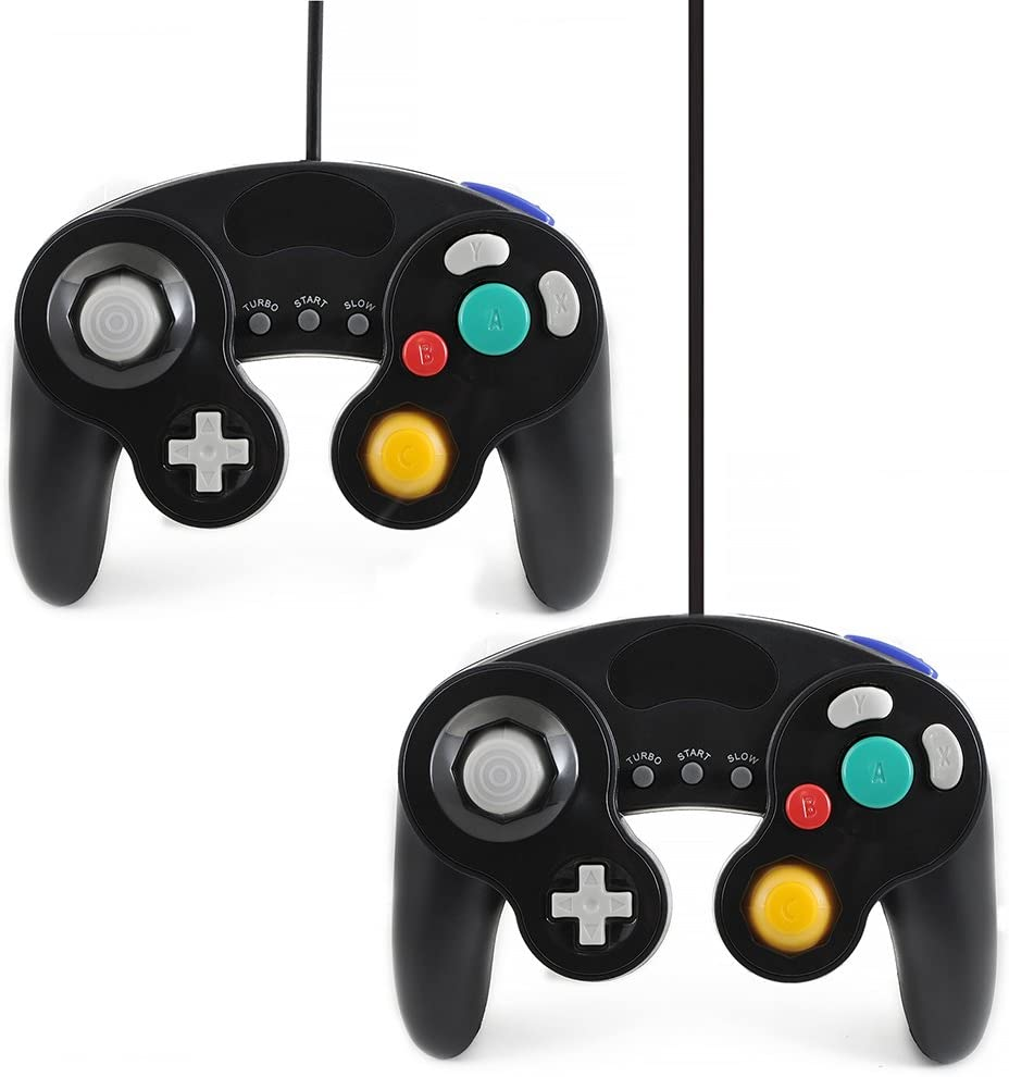 QUMOX 2X Black Wired Classic Controller Joypad Gamepad for Nintendo Gamecube gc & wii (Turbo Slow Feature)