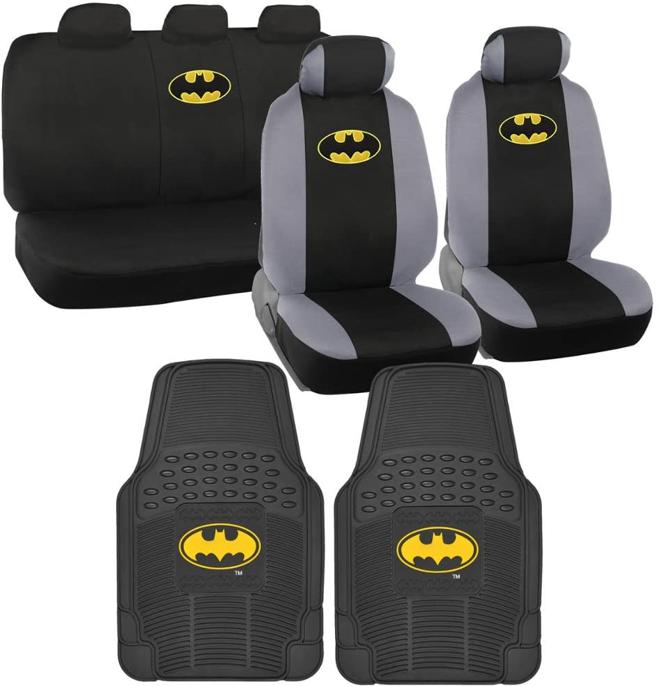 Warner Brothers Batman Seat Cover, Rubber Floor Mat for Car - Universal Fit Auto Accessories