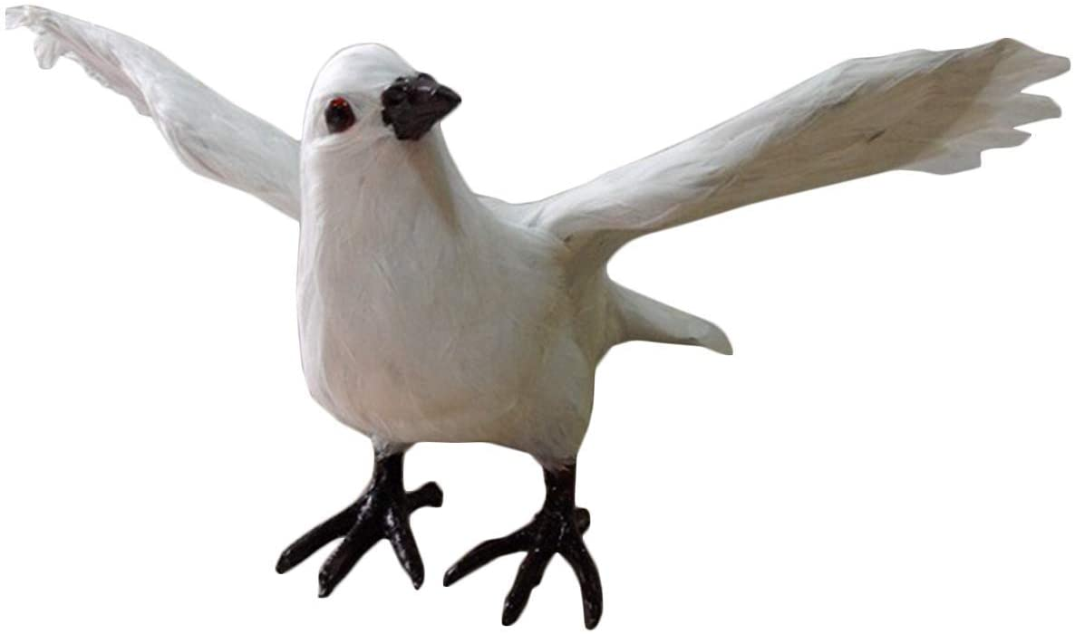 LXX Simulation Pigeon Model - Cute Realistic Spread Wings Pigeon Ornaments - Artificial Feathered Standing Pigeon Decoy Dove Bird - for Garden Decor Kids Educational Toys