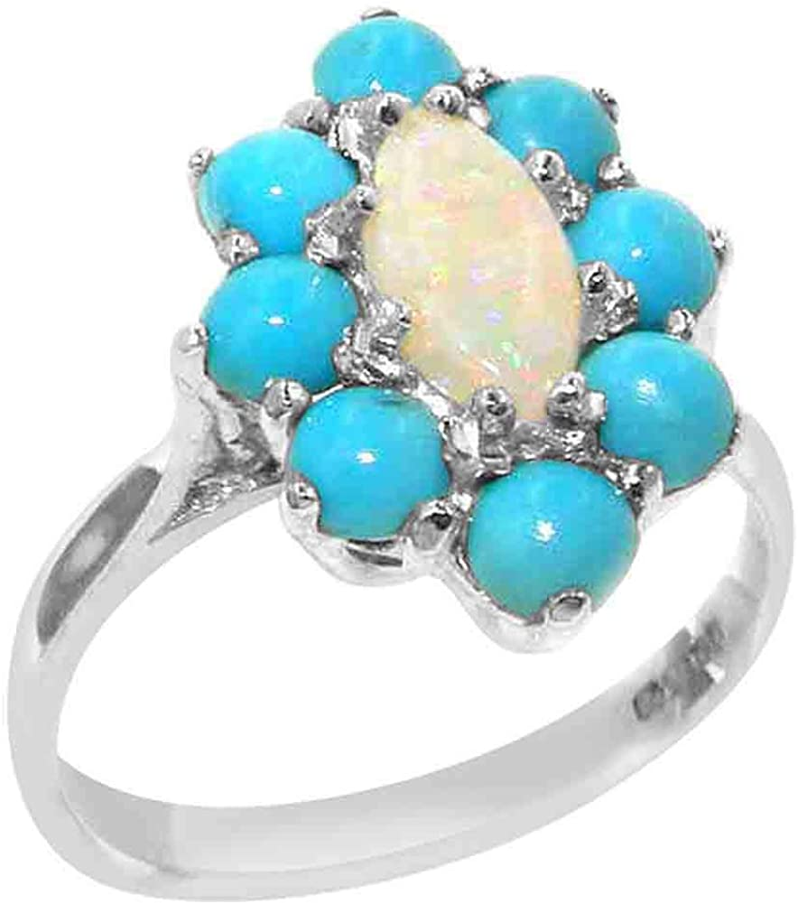 Solid 9k White Gold ring with Natural Opal & Turquoise Womens Engagement Ring - Size 9.75