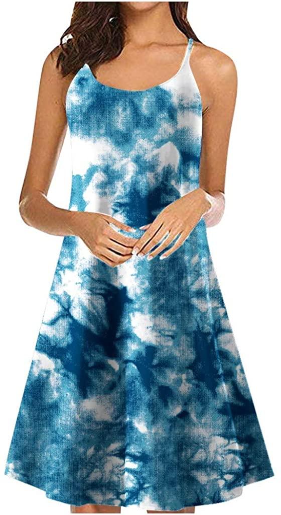 DealinM Womens Tie Dye Dresses Sleeveless Knee Length Bohemian Dress Spaghetti Strap Strappy Summer Beach Swing Dress