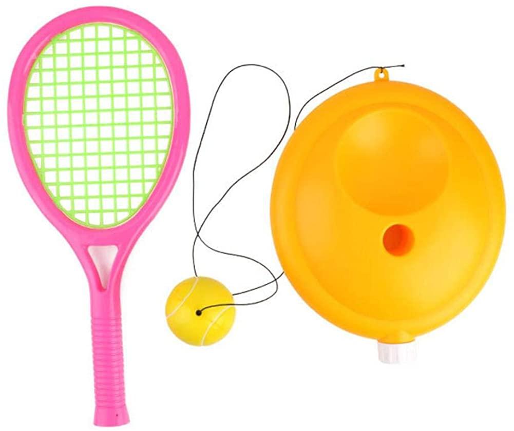 Purelemon Tennis Trainer Pro Set, Tennis Equipment Training for Kids, Singles Tennis Trainer Rebound Baseboard Tennis Ball Self Tennis Training Tool with Plastic Tennis Rackets