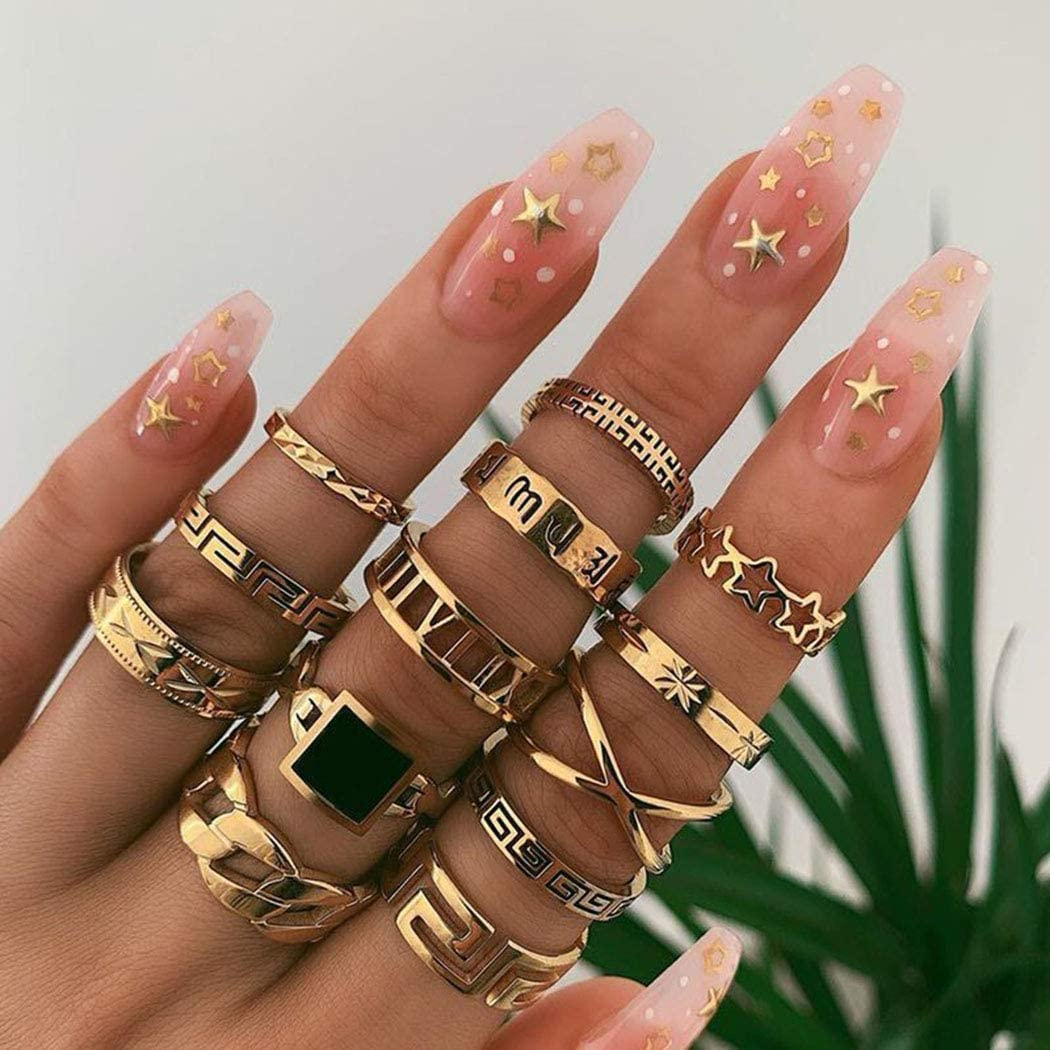 CanB Gold Ring Set Stylish Finger Ring Set Boho Stackable Rings Charm Knuckle Finger Joint Ring Set Stacking Mid Rings Stack Ring Jewelry for Women and Girls(13 Pcs)