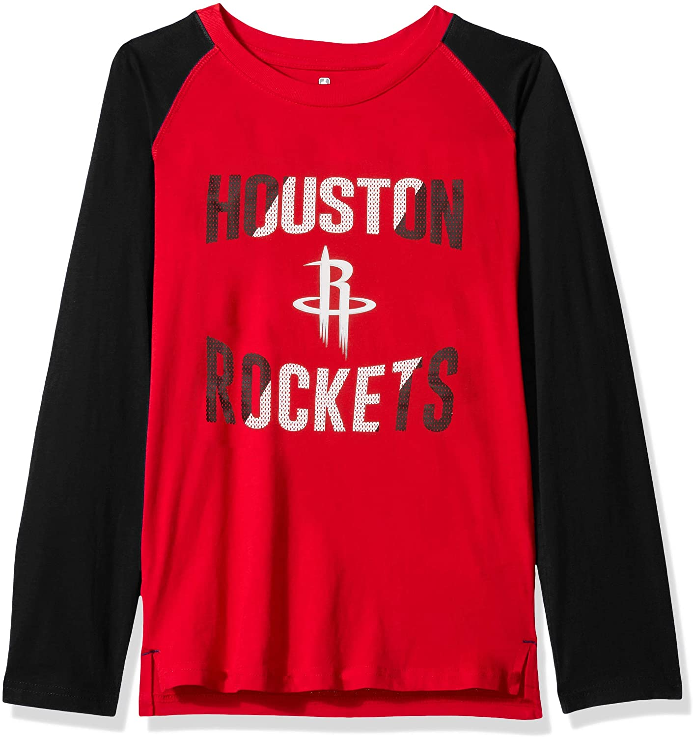 NBA by Outerstuff NBA Youth Boys Houston Rockets Free Throw Long Sleeve Fashion Tee, Red, Youth Medium(10-12)