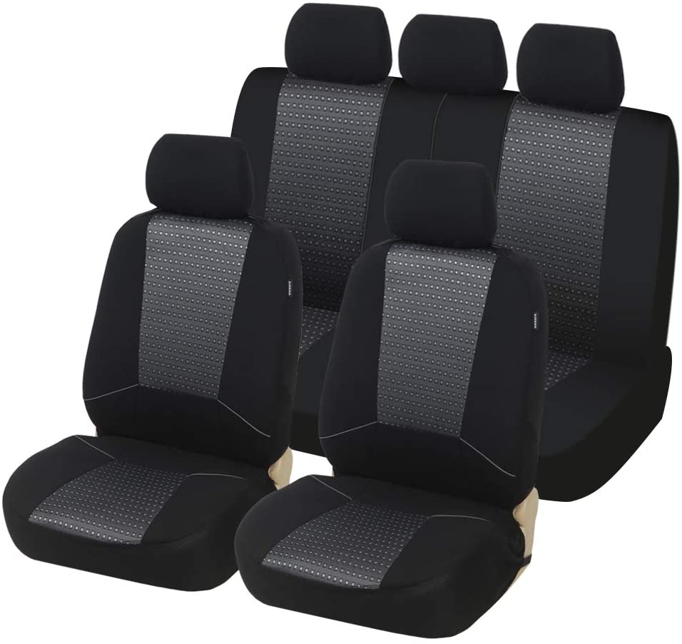 TOYOUN Car Seat Covers Full Set Universal Fit Airbag & Split Bench Compatible Jacquard Checked Pattern Fabric Full Auto Seat Covers Protector for Most Car, Truck, Van, SUV