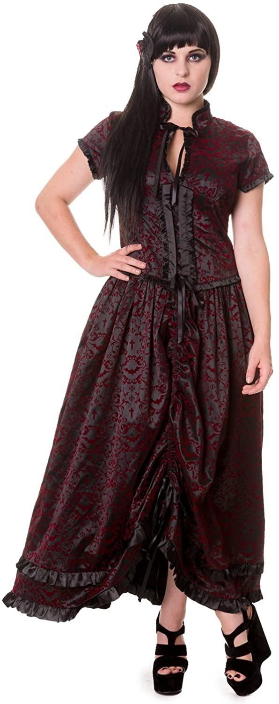 Ivy & Cross Pattern Black & Red Gothic Long Dress
