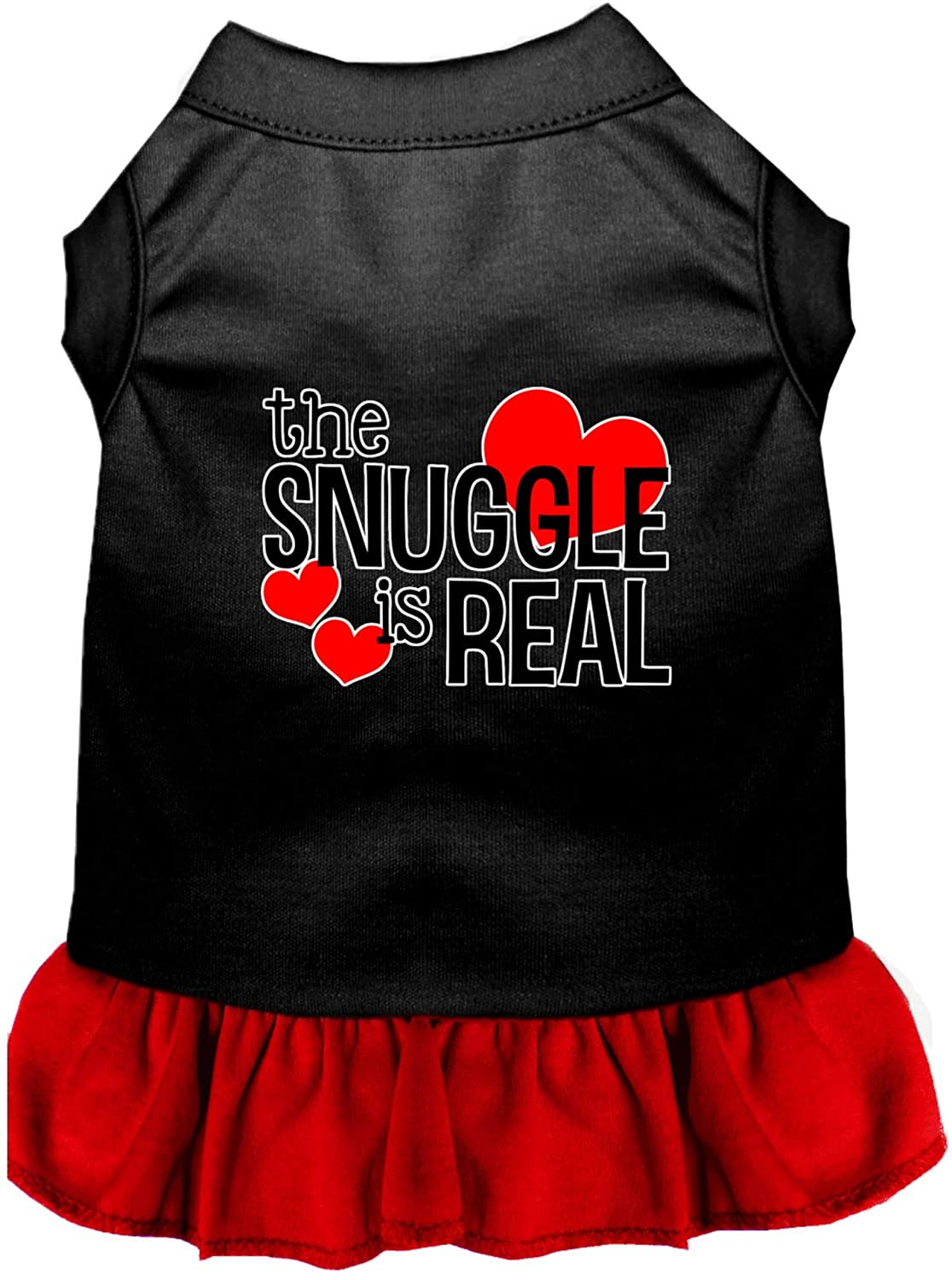 Mirage Pet Product The Snuggle is Real Screen Print Dog Dress Black with Red Med