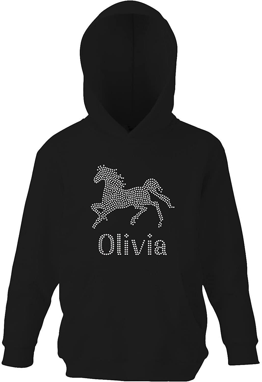Girl's Personalised Horse Riding Crystallised Equestrian Hoodie Varsany