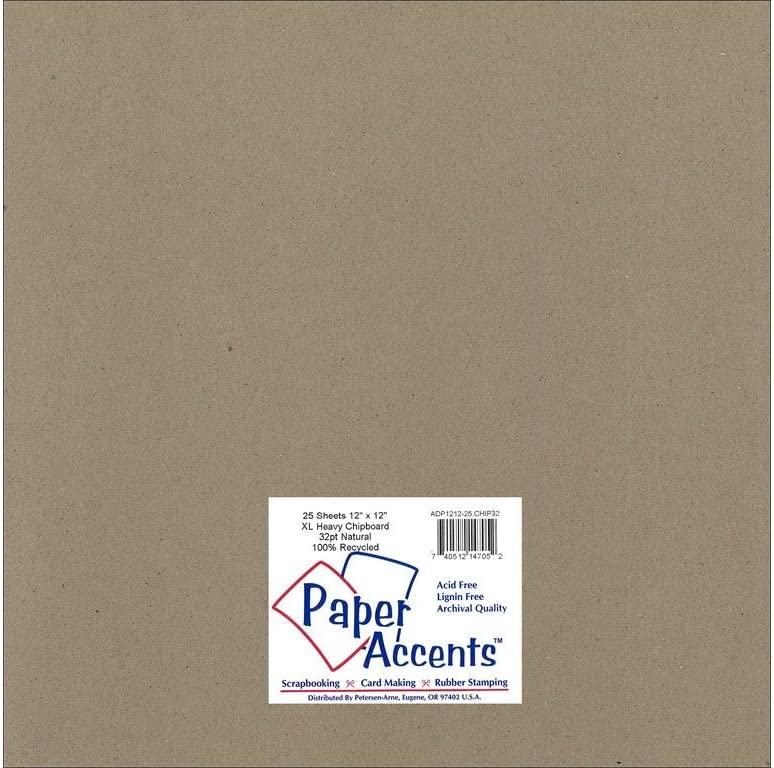 Accent Design Paper Accents ExtraHeavy NAT Chipboard 12x12 XL Heavy 32pt Natural