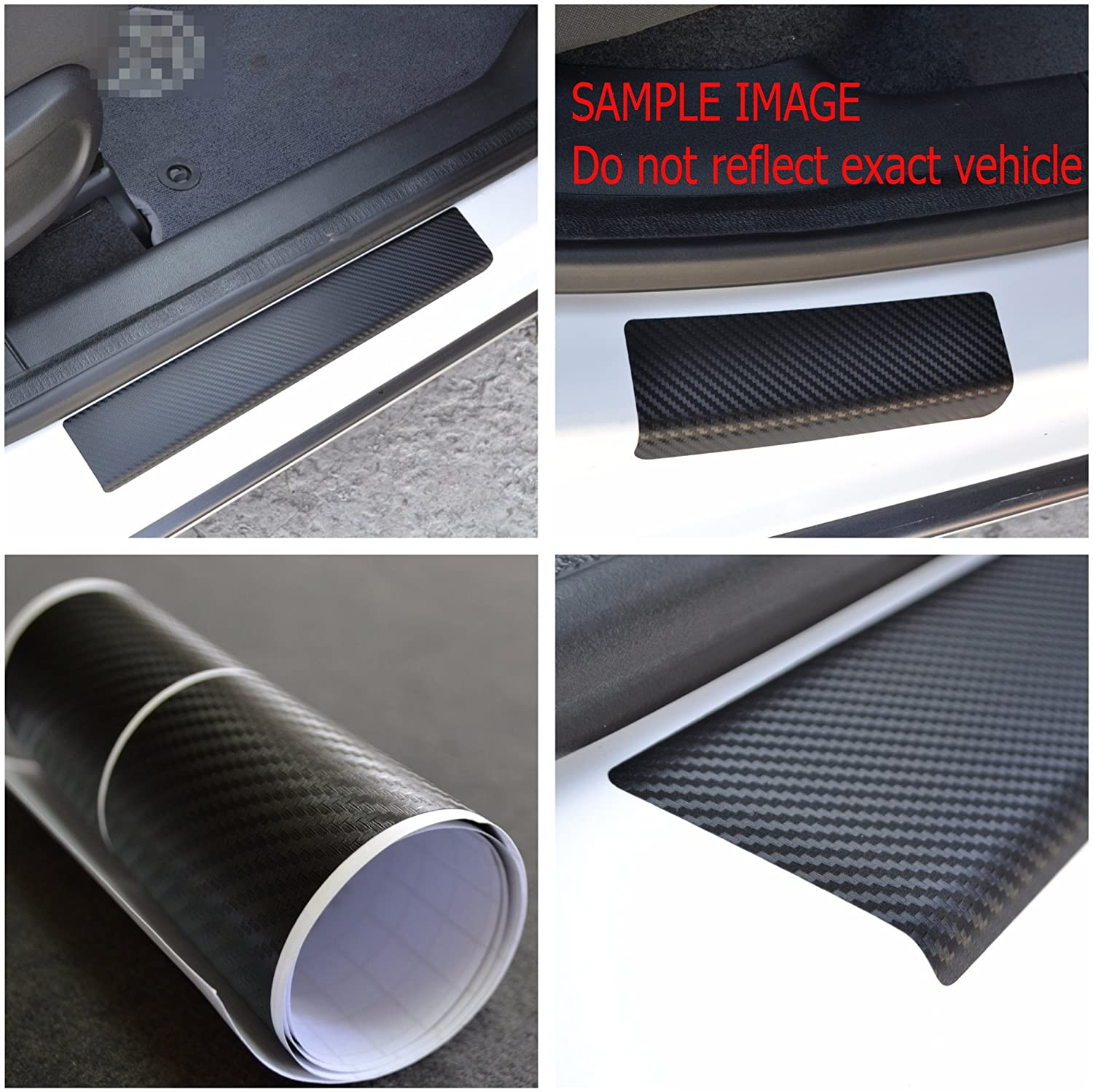 Door Sill Vinyl Wrap Scuff Protection Film fit Citroen C4 Picasso II 2013- Black Carbon Fiber Texture Decals Entry Guard 4 pcs Kit Paint Protector