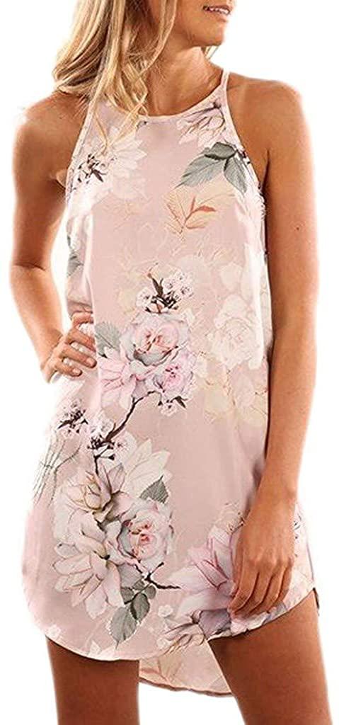 terbklf Halter Dresses for Women Casual Cami Mini Summer Dress Ladies Sexy Elegant Strappy Floral Beach Dress