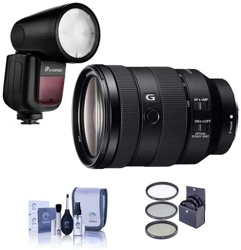 Sony FE 24-105mm f/4 G OSS E-Mount Lens - Bundle with Flashpoint Zoom Li-on X R2 TTL On-Camera Round Flash Speedlight, 77mm Filter Kit, Cleaning Kit