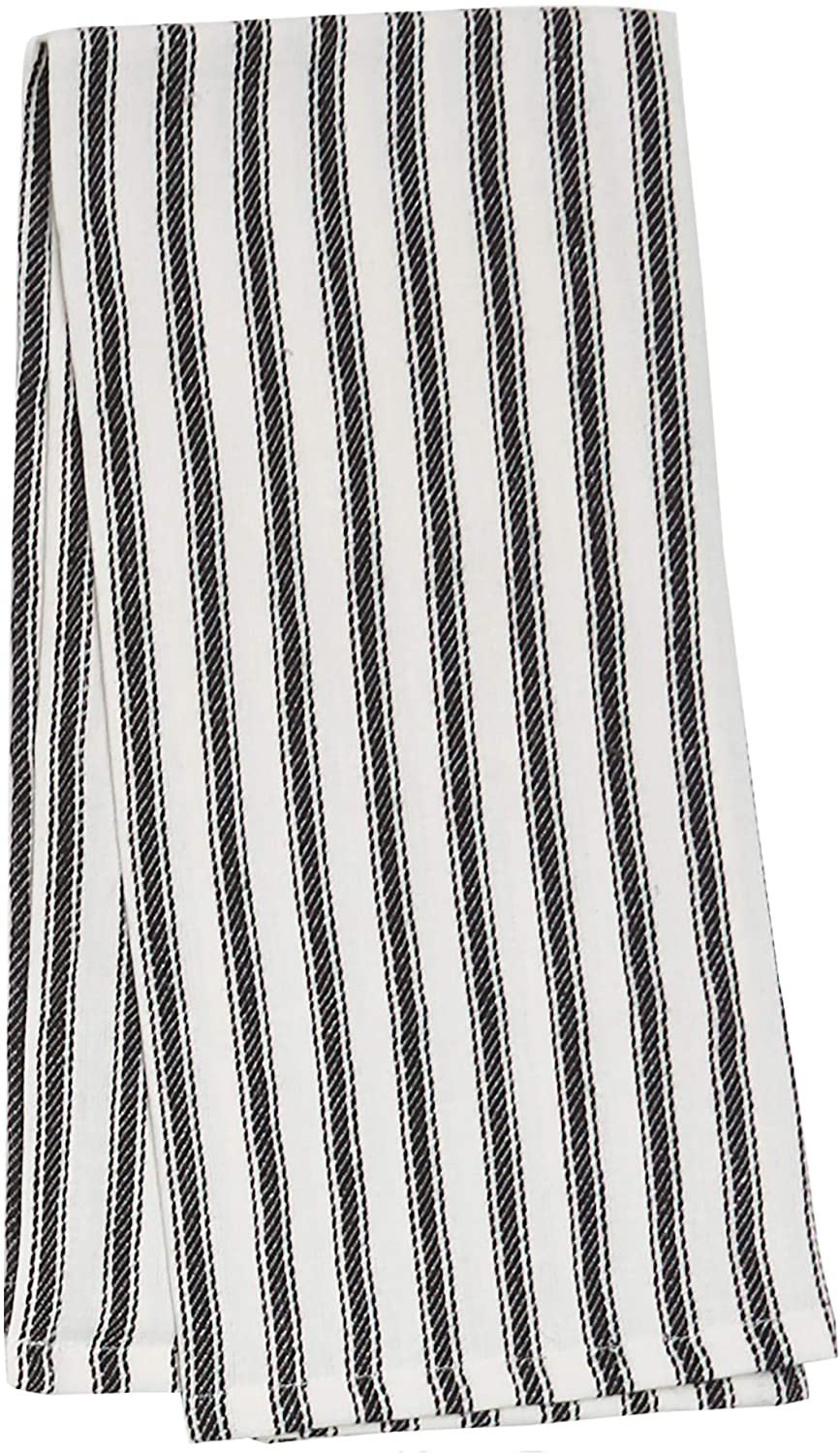 C&F Home Ticking Stripe Black White Everyday Seasonal Home Décor Handcrafted Woven Premium Cotton Kitchen Towel Kitchen Towel Black