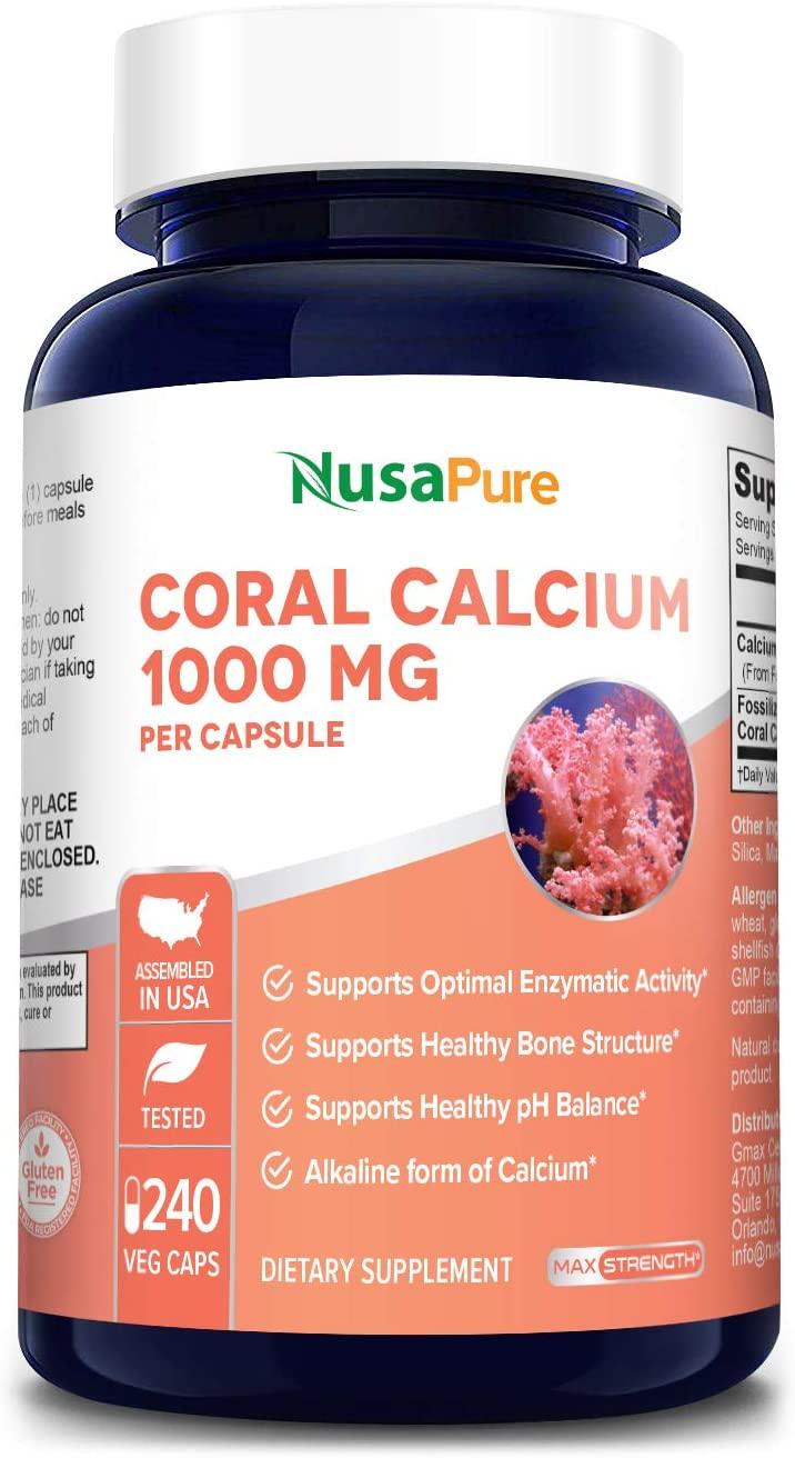 Coral Calcium 1000 mg 240 Veggie Caps (Non-GMO & Gluten-Free) Supports Bone Health & PH Levels*- Contains Magnesium, 73 Minerals and Vitamin D3