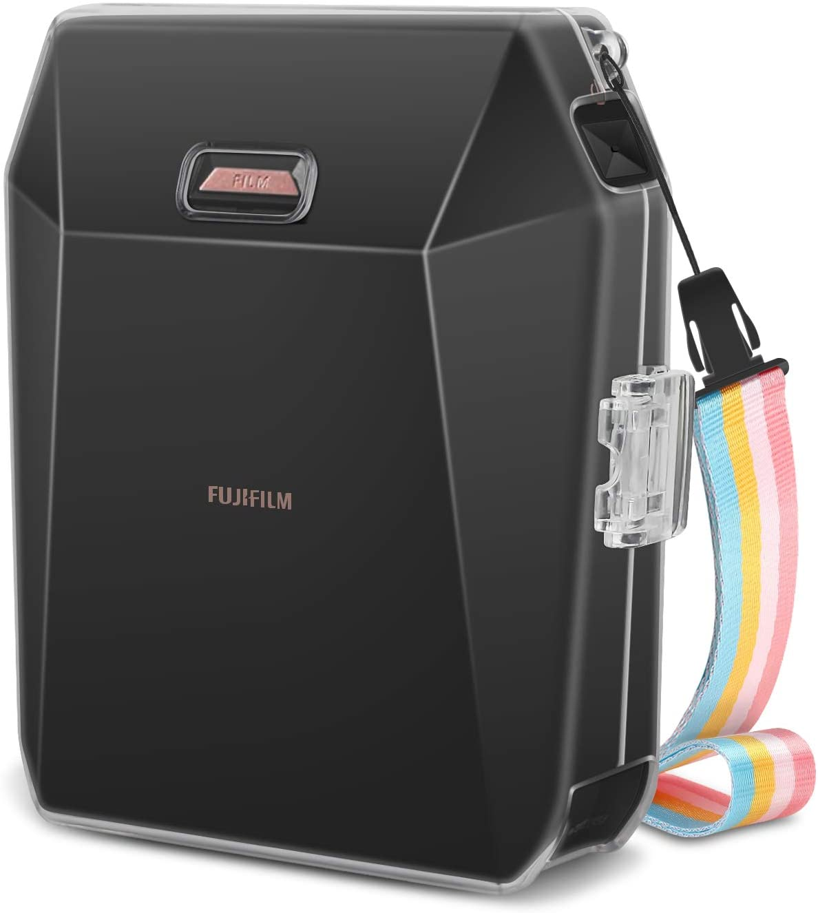 Fintie Carrying Case for Fujifilm Instax SP-3 Mobile Printer - Crystal Hard PVC Cover with Removable Rainbow Shoulder Strap - Clear