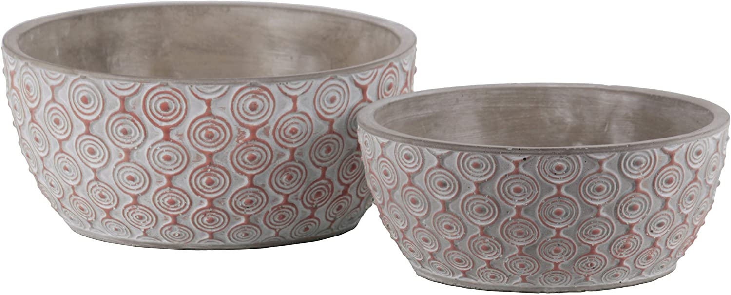 Urban Trends Painted Embossed Concentric Circle Design Body Cement Low Round Pot (Set of 2), Vermillion