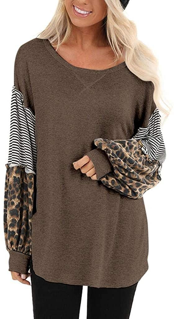 terbklf Basic Tops for Women Women's Long Sleeves Crew Neck T Shirt Leopard Stripes Splice Casual Pullover