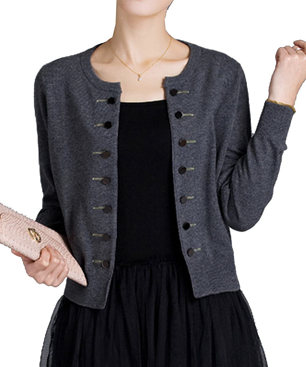 Aishang Women's Petite Sweater Cardigan Crewneck Gothic Steampunk Buttons Jacket