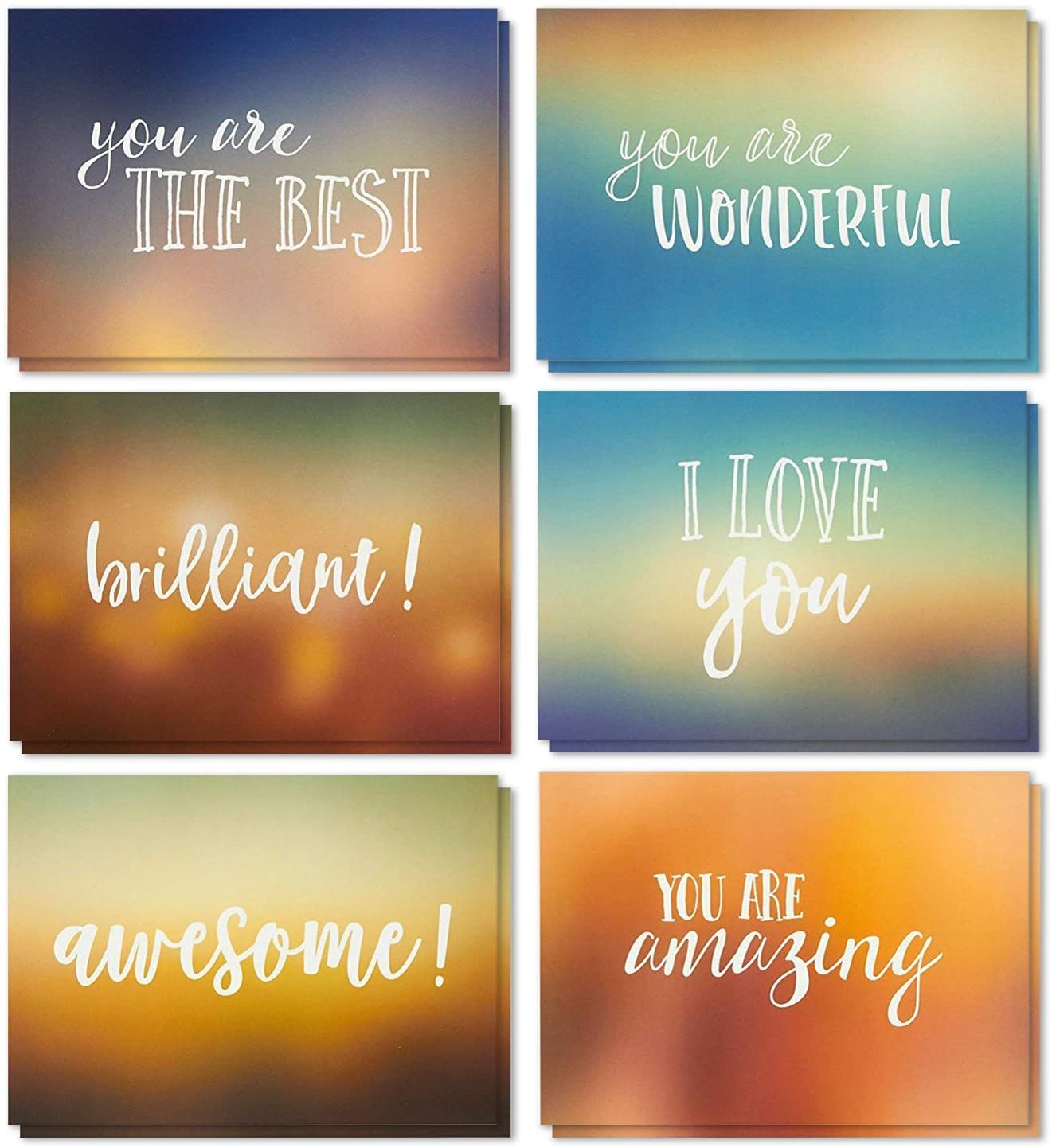 36 Pack Motivational Encouragement Greeting Cards, 6 Handwritten Modern Artistic Style Colorful Designs, Bulk Box Set Variety Assortment, Envelopes Included 5 x 7 Inches