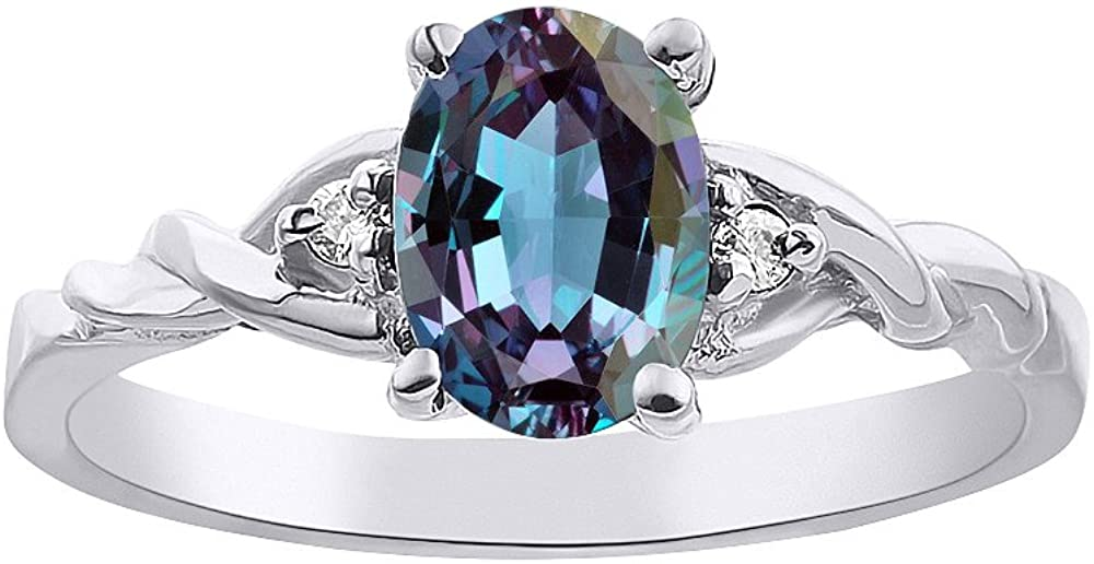 RYLOS Ladies Ring with Oval Shape Gemstone & Genuine Sparkling Diamonds in Sterling Silver .925-7X5MM Color Stone (Alexandrite, 7.25)