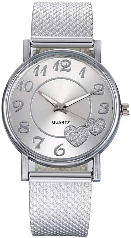 Bokeley Women's Watch, Women's Analog Quartz Watch with Stainless Steel Mesh Strap Ladies Watch Simple and Elegant Bracelet (Silver)