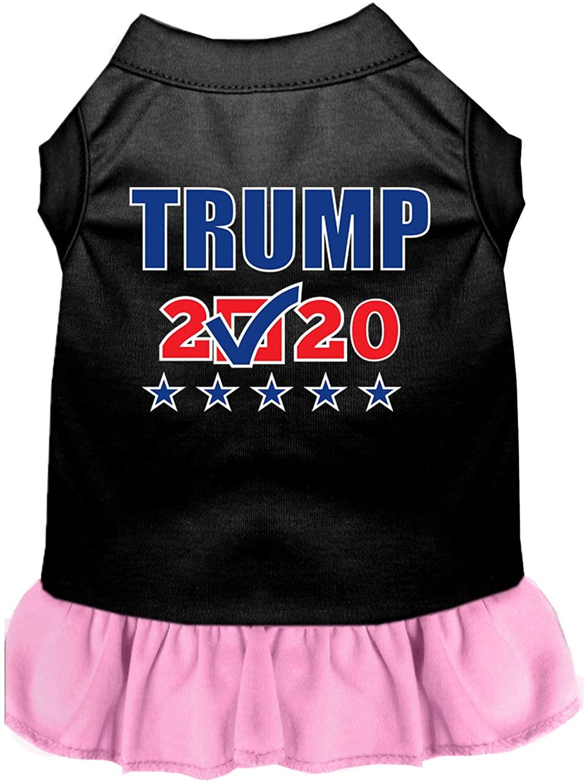 Mirage Pet Product Trump 2020 Checkbox Screen Print Dog Dress Black with Light Pink XL