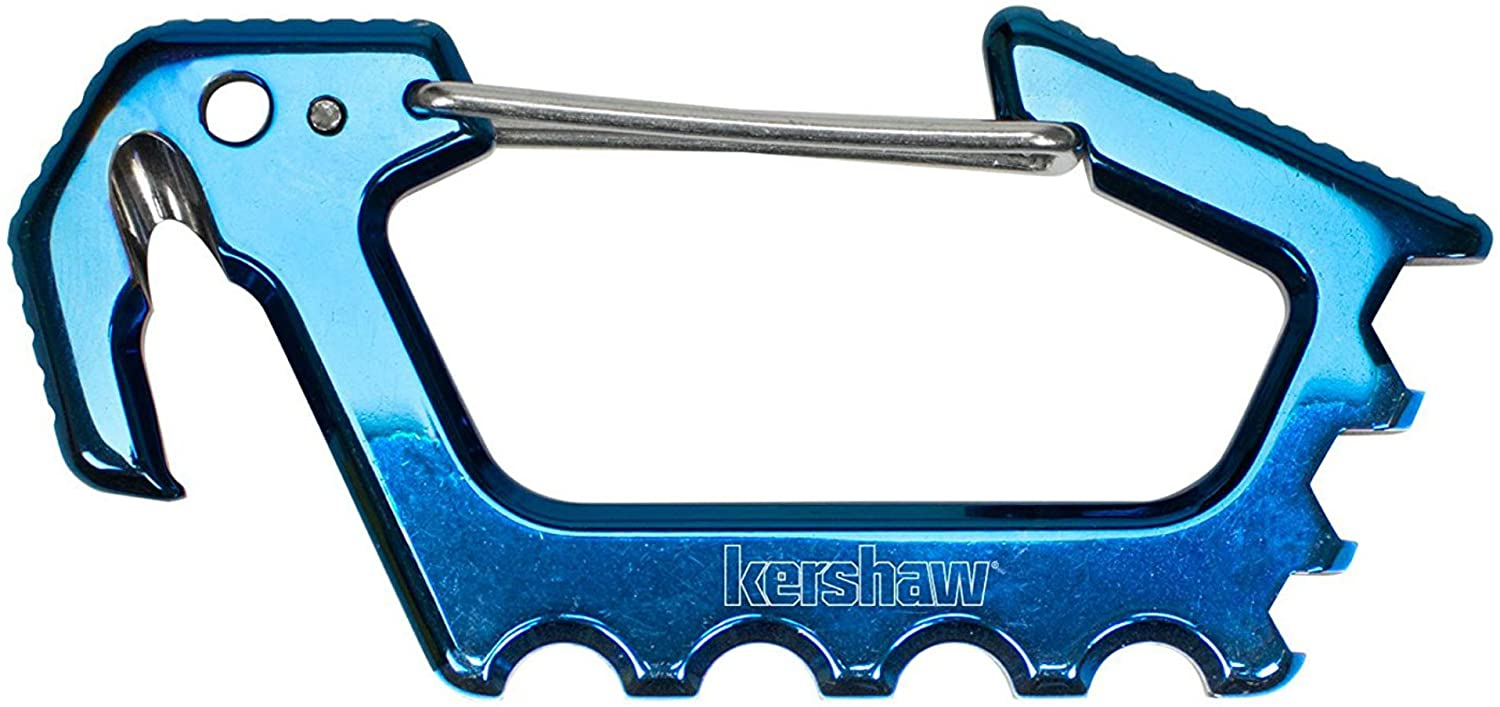 Kershaw Jens Carabiner Blue (1150BLUX), 3.6-In. Multi-Functioning Carabiner, Stainless Steel with Titanium Carbo-Nitride Coating, Cord Cutter, Bottle Opener, Hex Drives 0.125