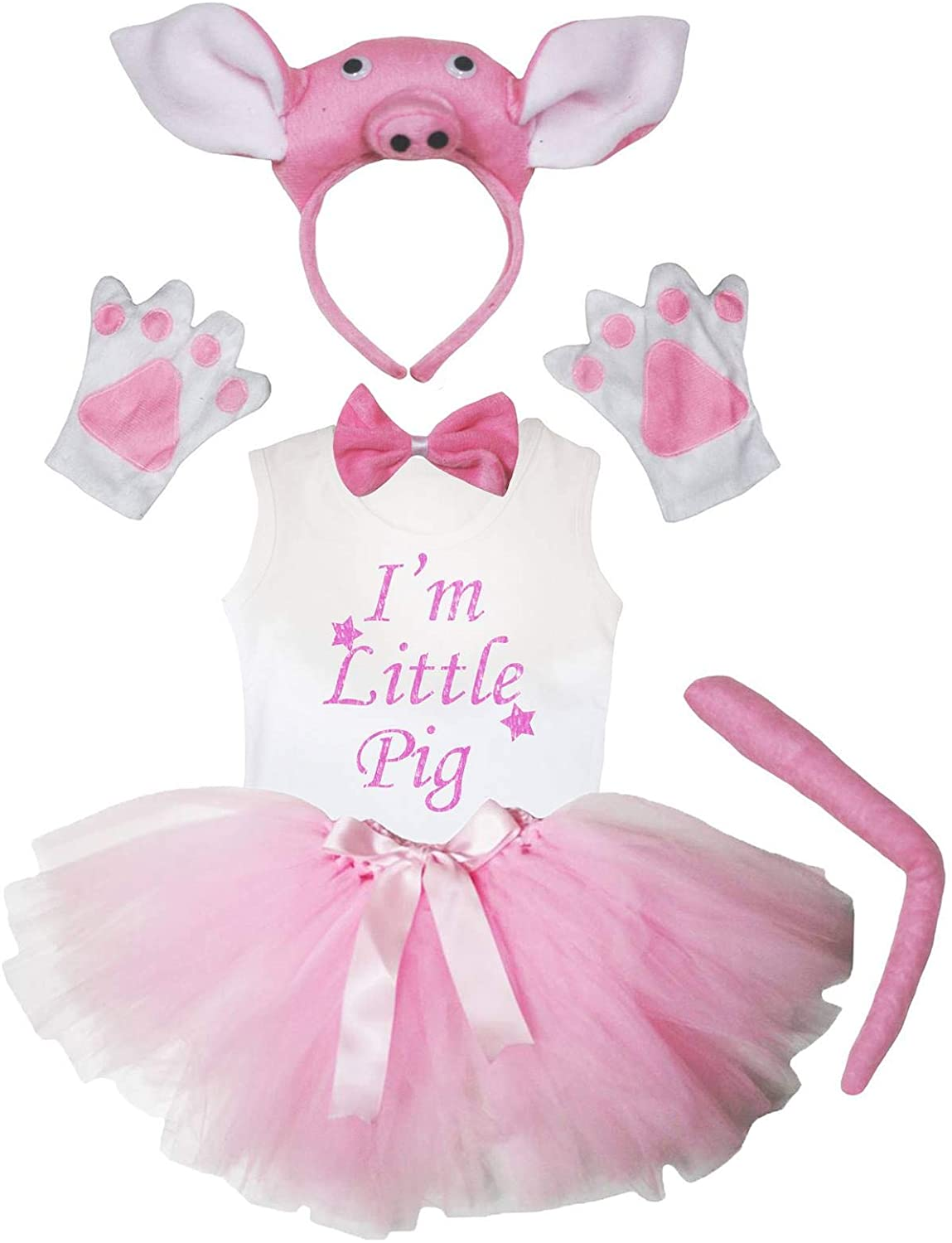 Petitebella I'm Little Pig Shirt Headband Tutu 6pc Girl Costume 1-8y (Pink, 6-8year)